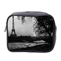 Vintage France Paris Eiffel Tour & Seine At Dusk 1970 Twin Sided Cosmetic Case