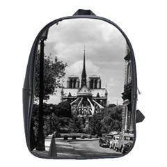 Vintage France Paris Notre Dame Saint Louis Island 1970 Large School Backpack by Vintagephotos