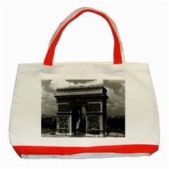 Vintage France Paris Triumphal Arch  Place De L etoile Red Tote Bag by Vintagephotos