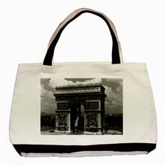 Vintage France Paris Triumphal Arch  Place De L etoile Twin Sided Black Tote Bag by Vintagephotos