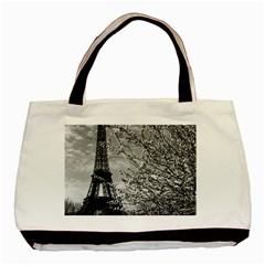Vintage France Paris Eiffel Tour 1970 Twin Sided Black Tote Bag by Vintagephotos