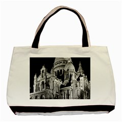 Vintage France Paris The Sacre Coeur Basilica 1970 Twin Sided Black Tote Bag by Vintagephotos