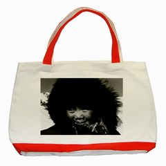 Vintage Usa Alaska Eskimo Child 1970 Red Tote Bag