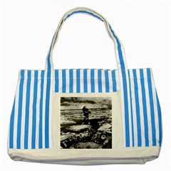 Vintage Alaska Eskimo Blanket Tossing 1970 Blue Striped Tote Bag by Vintagephotos