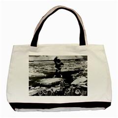 Vintage Alaska Eskimo Blanket Tossing 1970 Twin Sided Black Tote Bag by Vintagephotos
