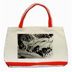 Vintage Usa Alaska Dog Sled Racing 1970 Red Tote Bag by Vintagephotos