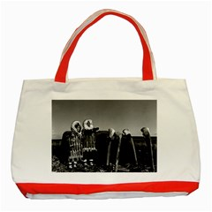 Vintage Fur Clad Eskimos Of Arctic Alaska Bu Sod Igloo Red Tote Bag by Vintagephotos