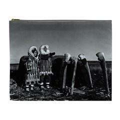 Vintage Fur Clad Eskimos Of Arctic Alaska Bu Sod Igloo Extra Large Makeup Purse by Vintagephotos