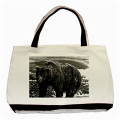 Vintage Usa Alaska Brown Bear 1970 Black Tote Bag by Vintagephotos