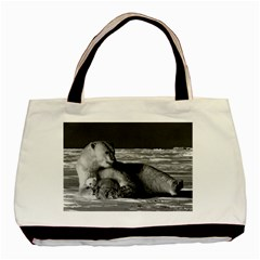 Vintage Usa Alaska Mother Polar Bear 1970 Black Tote Bag