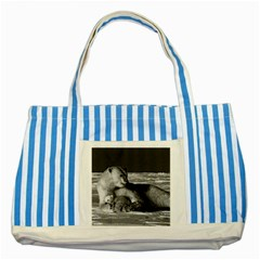 Vintage Usa Alaska Mother Polar Bear 1970 Blue Striped Tote Bag by Vintagephotos