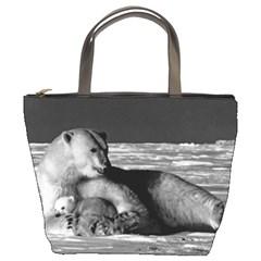 Vintage Usa Alaska Mother Polar Bear 1970 Bucket Handbag by Vintagephotos