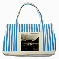 Vintage Usa Alaska Matanuska Clacier 1970 Blue Striped Tote Bag by Vintagephotos