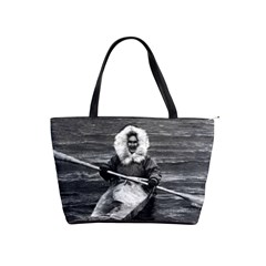 Vintage Usa Alaska Eskimo And His Kayak 1970 Large Shoulder Bag by Vintagephotos