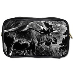 Vintage Usa Alaska Bull Moose 1970 Twin Sided Personal Care Bag