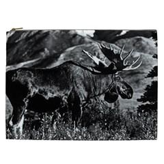 Vintage Usa Alaska Bull Moose 1970 Cosmetic Bag (xxl)