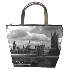 Vintage Uk England London The Houses Of Parliament 1970 Bucket Handbag by Vintagephotos