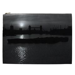 Vintage Uk England London Sun Sets Tower Bridge 1970 Cosmetic Bag (xxl) by Vintagephotos