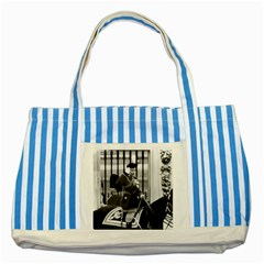 Vintage Uk England  Queen Elizabeth 2 Buckingham Palace Blue Striped Tote Bag by Vintagephotos