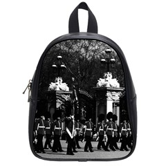 Vintage England London Changing guard Buckingham palace Small School Backpack by Vintagephotos