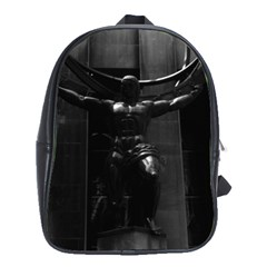 Vintage Usa New York Rockefeller Center Atlas Statue Large School Backpack by Vintagephotos