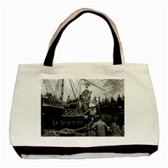 Vintage Usa California Disneyland Sailing Boat 1970 Twin Sided Black Tote Bag