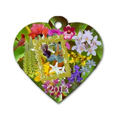 Orchid Flowers Heart 2013 Dog Tag  By Ellan   Dog Tag Heart (two Sides)   Y4xzia9nlo0z   Www Artscow Com Front