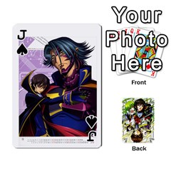 Jack Code Geass By David    Playing Cards 54 Designs   6xpb4uvp058l   Www Artscow Com Front - SpadeJ