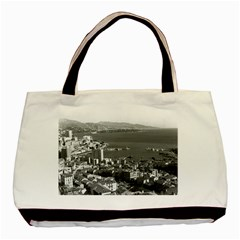 Vintage Principality Of Monaco  The Port Of Monte Carlo Black Tote Bag