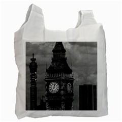 Vintage Uk England London The Post Office Tower Big Ben Single Sided Reusable Shopping Bag by Vintagephotos