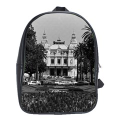 Vintage Principality of Monaco Monte Carlo Casino Large School Backpack by Vintagephotos