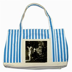 Vintage China Pekin visitors Temple of Heaven 1970 Blue Striped Tote Bag by Vintagephotos