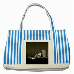 Vintage China Hong Kong Boat Skyscraper ??sea 1970 Blue Striped Tote Bag by Vintagephotos