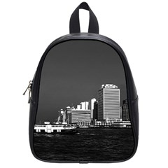 Vintage China Hong Kong Boat Skyscraper ??sea 1970 Small School Backpack