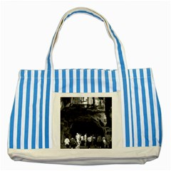 Vintage China Guilin Folded Brocade Hill 1970 Blue Striped Tote Bag