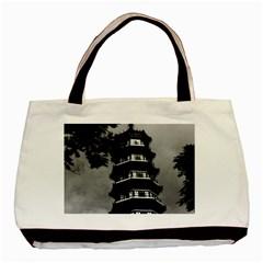 Vintage China Canton The Flowery Pagoda 1970 Twin Sided Black Tote Bag by Vintagephotos