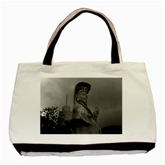 Vintage China Hong Kong Repulse Bay Kwun Yam Statue Black Tote Bag