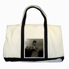 Vintage China Hong Kong Repulse Bay Kwun Yam Statue Two Toned Tote Bag by Vintagephotos