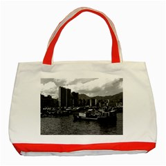 Vintage China Hong Kong Houseboats River 1970 Red Tote Bag by Vintagephotos