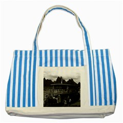 Vintage China Guilin River Boat 1970 Blue Striped Tote Bag by Vintagephotos