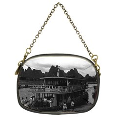 Vintage China Guilin river boat 1970 Single-sided Evening Purse
