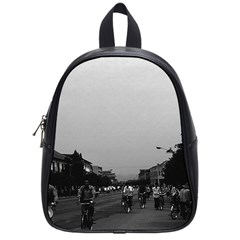 Vintage China Guilin Street Bicycles 1970 Small School Backpack by Vintagephotos