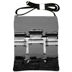 Vintage China Pekin Gate Ming Tombs 1970 Cross Shoulder Sling Bag