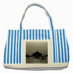 Vintage China Pekin Forbidden City Gate 1970 Blue Striped Tote Bag by Vintagephotos