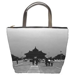 Vintage China Pekin Forbidden City Gate 1970 Bucket Handbag