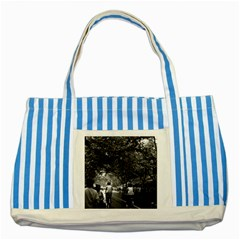 Vintage China Shanghai Street 1970 Blue Striped Tote Bag by Vintagephotos