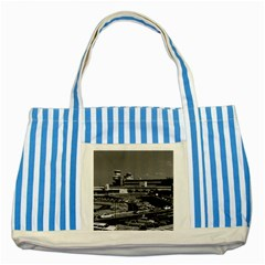 Vintage Germany Berlin The Tegel Airport 1970 Blue Striped Tote Bag by Vintagephotos