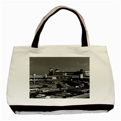 Vintage Germany Berlin The Tegel Airport 1970 Twin Sided Black Tote Bag by Vintagephotos