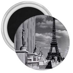 Vintage France Paris Eiffel Tour Chaillot Palace 1970 Large Magnet (round)
