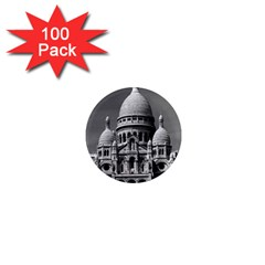 Vintage France Paris The Sacre Coeur Basilica 1970 100 Pack Mini Magnet (round) by Vintagephotos
